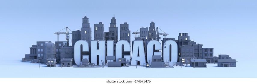 chicago lettering, city in 3d render