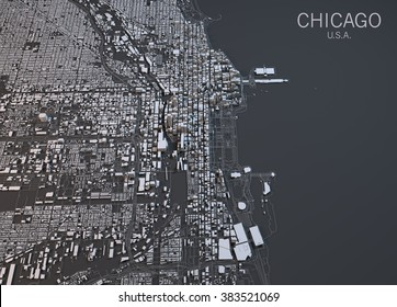 Chicago map, satellite view, Illinois, Usa