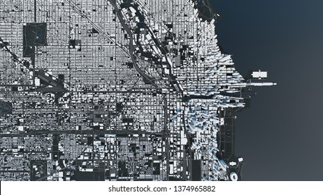 Chicago map, satellite view. Chicago, top view. 3d illustration