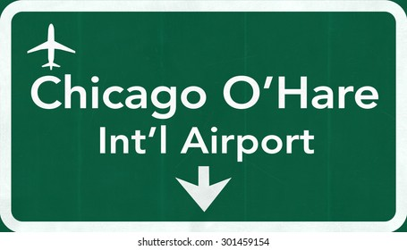 Chicago O'Hare USA International Airport Highway Road Sign 2D Illustration Texture, background, element