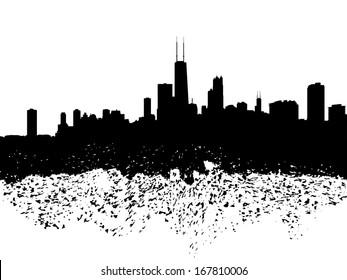 Chicago skyline grunge silhouette illustration