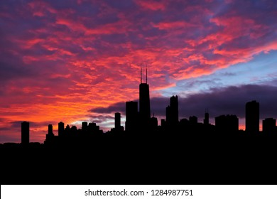 Chicago skyline silhouette on colourful sunset background illustration
