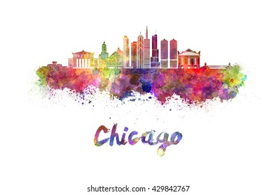 Chicago skyline in watercolor splatters with clipping path