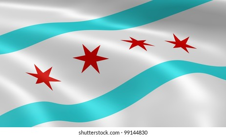 Chicagoan flag in the wind.