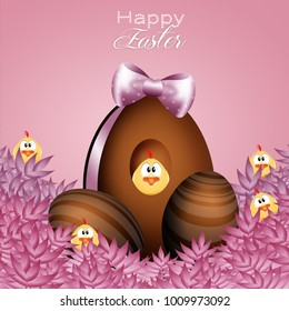 Chick with chocolate eggs for Easter