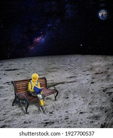 Chick dressed as human is reading a book. The chick sitting on the bench is reading a book. The living creature on the moon reads a book.