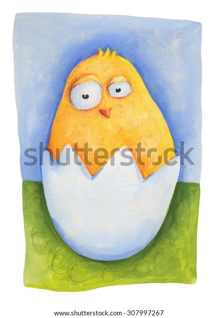 Chick on grass in egg. Illustration. Hand drawing. Card