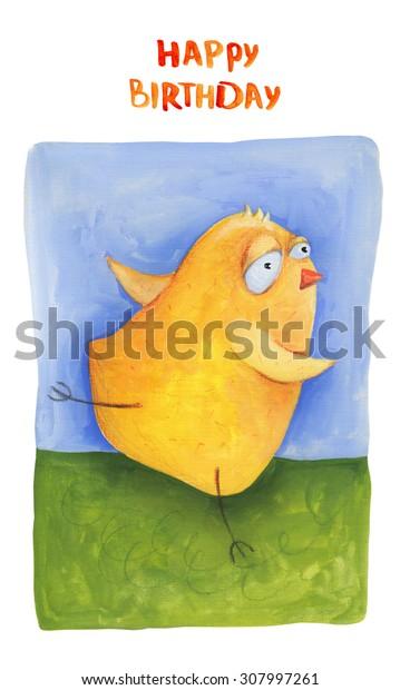 Chick run on grass Card. Happy birthday. Illustration. Hand drawing