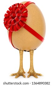 chicken egg with foot, egg with a ribbon isolated on white background. 3d rendering.