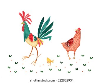 chicken family - hand drawn watercolor illustration of rooster, hen and chicken, isolated on white