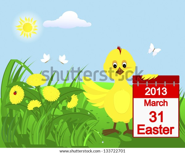Chicken in the grass with yellow dandelions. Raster.