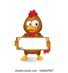 Chicken holding Blank sign with both hands