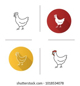 Chicken icon. Flat design, linear and color styles. Hen. Poultry farm. Isolated raster illustrations