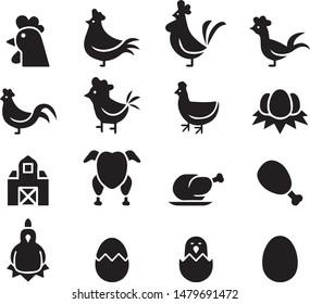 Chicken icon set black logo