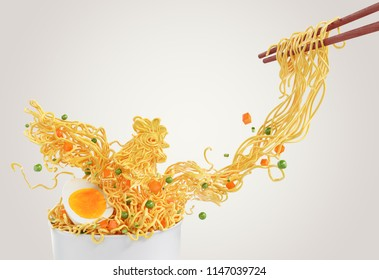 Chicken Noodles consist of peas and carrots, chopped with chopsticks form white Cup, 3d illustration.