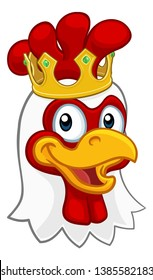 A chicken rooster cockerel bird cartoon character in a kings gold crown