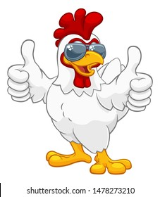 A chicken rooster cockerel bird cartoon character in cool shades or sunglasses giving a double thumbs up