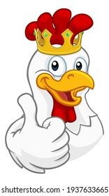 A chicken rooster cockerel bird cartoon character in a kings gold crown giving a thumbs up