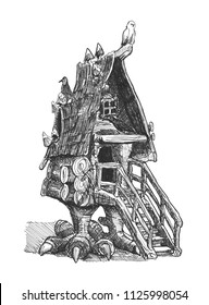 Chicken-legged hut is the dwelling of Baba Yaga, who is one of the main characters of Russian fairy tales.