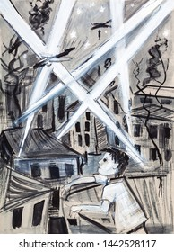chidren in time of war, boy watching the bombing,