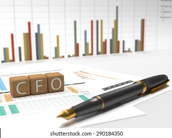 Chief Financial Officer - CFO - 3 wooden dice containing these letters with charts on the background. 3D Illustration