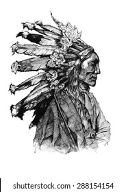 Chief native american ink American history old indian man brave warrior