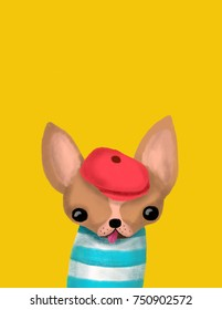 Chihuahua dog has stylish red hat and blue striped shirt. Greetings Card and poster illustration have space for your text.