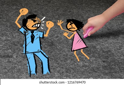 Child abuse concept and domestic violence as a child being abused by a violent aggresive adult or parent abusing a kid as in a 3D illustration style.