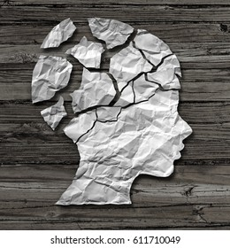 Child abuse concept and physical or emotional damage in children as a victim of violence or assault as a crumpled paper on wood as the head of a young  person in a 3D illustration style.