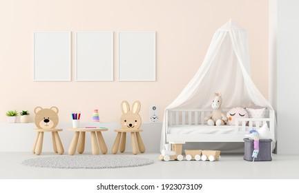 Child bedroom interior with frame mockup, 3D rendering