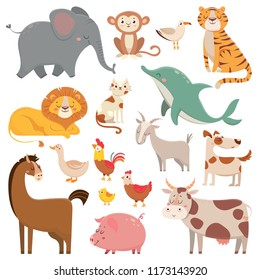Child cartoons elephant, gull, dolphin, wild animal. Cute pet, farm and jungle animals  cartoon characters
