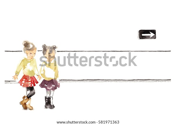Child in the city, girl of a red skirt and girl of a purple skirt