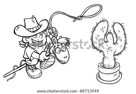 e385db0ada5 Child Cowboy On Wooden Horse Outline Stock Illustration - Royalty ...