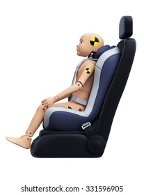 Child Crash Test Dummy in Car Seat. Side View. Safety Concept