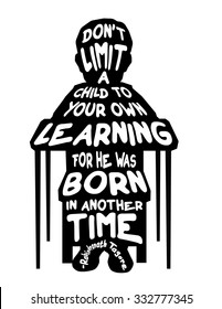 Child Desk School Sitting Learning Born inspirational quote silhouette illustration
