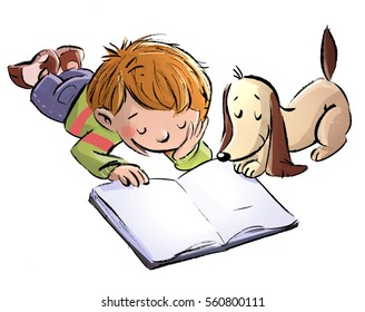 child and dog reading a book
