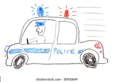 Child drawing of a police car made with wax crayons