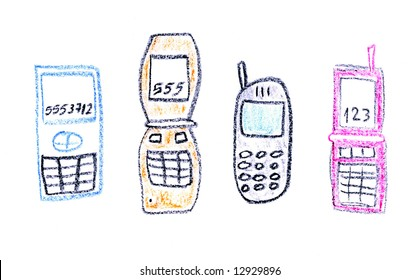 Child drawing of various mobile phone models made with wax crayons