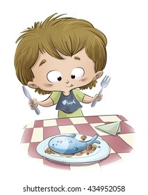 child eating a fish dish