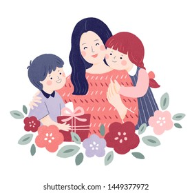 Child giving mom gift illustration