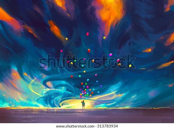 Fantezi Firtina Onunde Duran Balonlar Tutan Stok Illustrasyon
