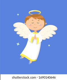 Child holding hands together raster, angel praying for peace. Angelic boy with wings and halo closed eyes. Kid wearing long costume, calm character