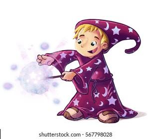 Child magician doing magic