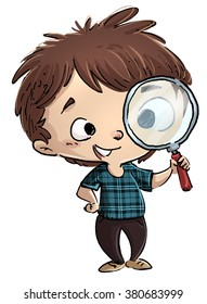child with magnifier