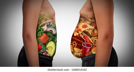Child nutrition choice eating unhealthy diet or healthy food as a side view of a fat and normal kid with the stomach made from junk food or health ingredients with 3D illustration elements.