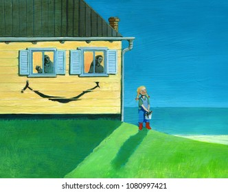 child paints smile on fa�ade house to the window her parents seem the eyes