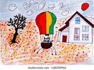 Child pencil and felt pen hand drawing. Cat in a hot air balloon ready to fly in autumn day.