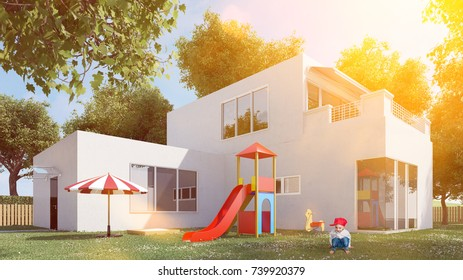 Child at playground from house of single family home (3D Rendering)