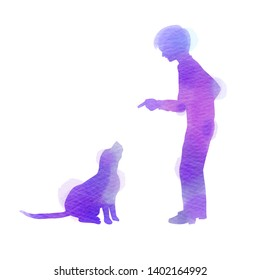 A Child playing with dog silhouette on watercolor background. The concept of trust, friendship and pet care. Digital art painting.