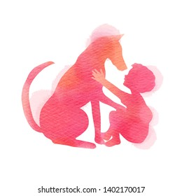 A Child playing with dog silhouette on watercolor background. The concept of trust, friendship and pet care. Digital art painting. Vector illustration